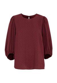 Cellbes Wzorzysta bluzka z bufiastymi rękawami burgundowy we wzory female czerwony/ze wzorem 34/36. Kolor: czerwony. Materiał: tkanina, poliester. Styl: klasyczny