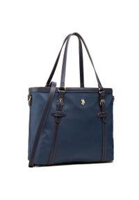 Niebieska torebka klasyczna U.S. Polo Assn z aplikacjami, zdobiona, klasyczna