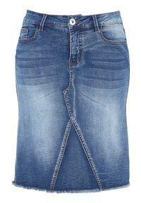 Cellbes Rozciągliwa spódnica dżinsowa denim blue female niebieski 54. Kolor: niebieski. Materiał: denim. Styl: elegancki