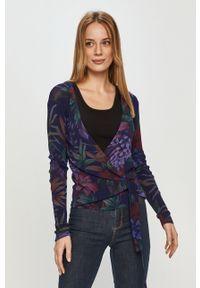 Fioletowy sweter Desigual długi, z długim rękawem, na co dzień