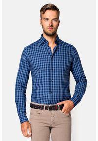 Lancerto - Koszula w Kratę Famara. Okazja: na co dzień. Materiał: bawełna, dzianina, tkanina, jeans. Wzór: ze splotem, kratka. Styl: casual