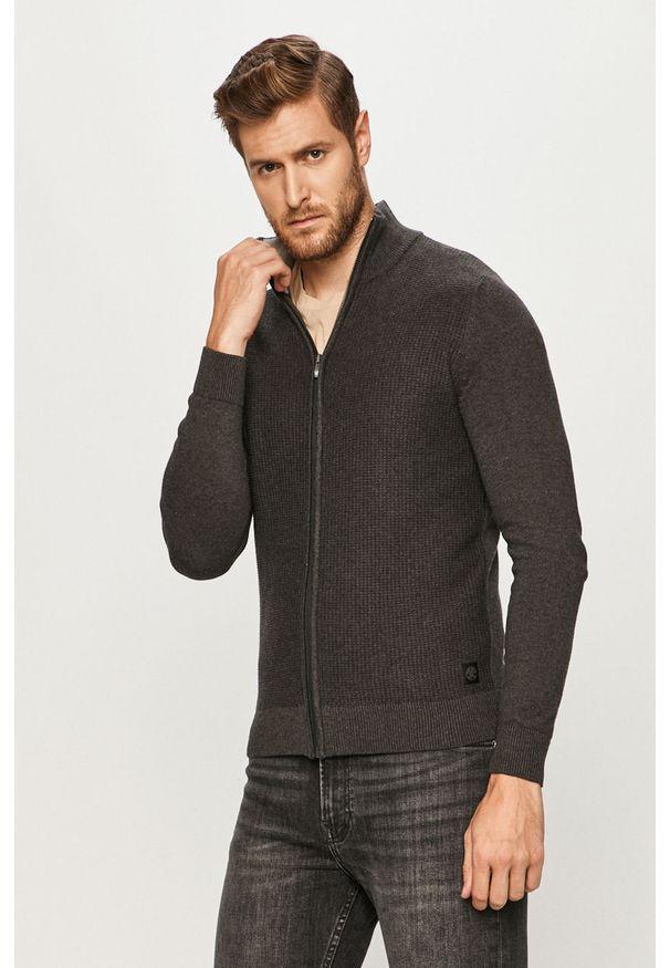 Szary sweter rozpinany Tom Tailor Denim casualowy, na co dzień