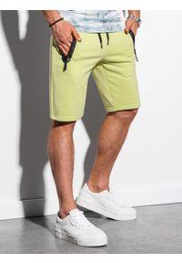 Ombre Clothing - Krótkie spodenki męskie dresowe W239 - limonkowe - XXL. Okazja: na co dzień. Materiał: dresówka. Długość: krótkie. Wzór: nadruk. Sezon: lato, wiosna. Styl: klasyczny, casual