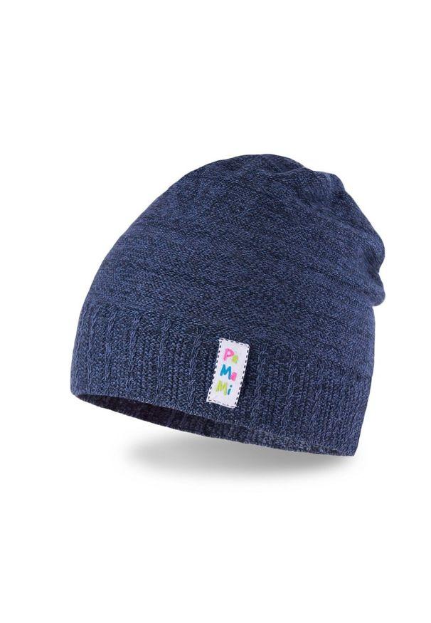 Bawełniana czapka dziecięca PaMaMi- ciemnoniebieski. Kolor: niebieski. Materiał: bawełna, elastan. Sezon: wiosna