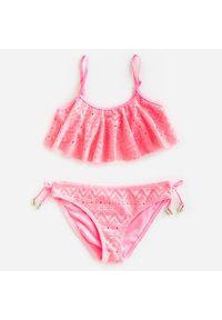 Różowy strój kąpielowy Reserved w koronkowe wzory