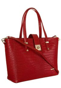 Skórzana torebka damska czerwona Badura T_D213CR_CD. Kolor: czerwony. Materiał: skórzane