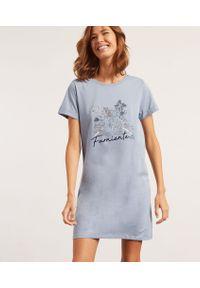 Niebieska piżama Etam krótka, z napisami