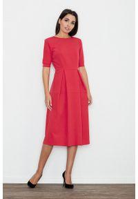e-margeritka - Sukienka rozkloszowana midi czerwona - xl. Okazja: do pracy, na spotkanie biznesowe. Kolor: czerwony. Materiał: wiskoza, materiał, poliester. Styl: wizytowy, biznesowy, elegancki. Długość: midi