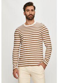 Marc O'Polo - Sweter. Okazja: na co dzień. Typ kołnierza: polo. Kolor: brązowy. Długość rękawa: długi rękaw. Długość: długie. Styl: casual