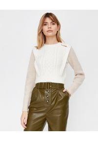 SELF PORTRAIT - Sweter z domieszką wełny. Kolor: biały. Materiał: wełna. Długość rękawa: długi rękaw. Długość: długie. Wzór: ze splotem. Styl: klasyczny