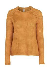 Żółty sweter Soyaconcept z okrągłym kołnierzem, raglanowy rękaw