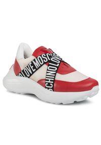 Czarne buty sportowe Love Moschino z cholewką, na płaskiej podeszwie