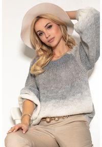 Fobya - Kolorowy Sweter z Bufiastym Rękawem - Szary. Kolor: szary. Materiał: wełna, poliakryl. Wzór: kolorowy