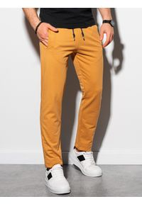 Ombre Clothing - Spodnie męskie dresowe P950 - musztardowe - XXL. Kolor: żółty. Materiał: dresówka