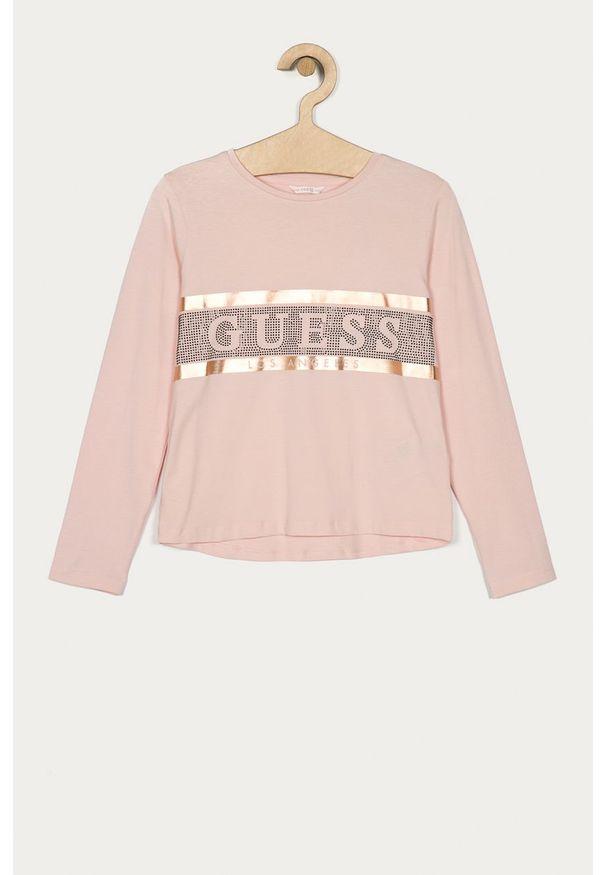 Różowa bluzka z długim rękawem Guess Jeans z okrągłym kołnierzem, casualowa, na co dzień