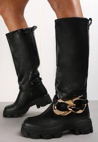 Renee - Czarne Kozaki Mesis. Wysokość cholewki: przed kolano. Nosek buta: okrągły. Zapięcie: bez zapięcia. Kolor: czarny. Szerokość cholewki: normalna. Wzór: gładki