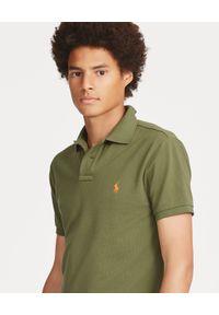 Ralph Lauren - RALPH LAUREN - Koszulka Polo Slim Fit. Typ kołnierza: polo. Kolor: zielony. Materiał: bawełna. Wzór: haft, aplikacja