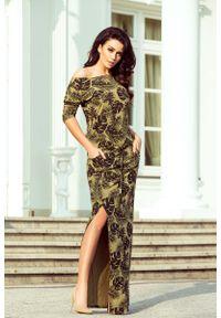 Brązowa sukienka Numoco w kwiaty, maxi