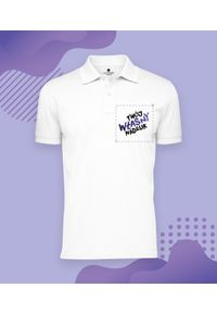 MegaKoszulki - Męska koszulka polo z własnym nadrukiem. Typ kołnierza: polo. Wzór: nadruk