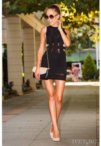 Czarna sukienka mini IVET z odkrytymi ramionami, wizytowa