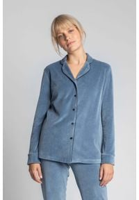 MOE - Welurowa Koszula od Piżamy - Niebieska. Kolor: niebieski. Materiał: welur