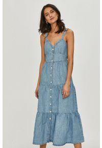 Levi's® - Levi's - Sukienka. Okazja: na spotkanie biznesowe. Kolor: niebieski. Materiał: tkanina. Długość rękawa: na ramiączkach. Wzór: gładki. Typ sukienki: rozkloszowane. Styl: biznesowy