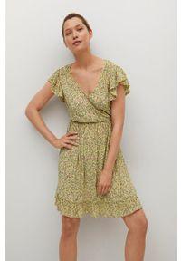 mango - Mango - Sukienka GRACIOSA. Kolor: żółty. Materiał: włókno, materiał. Długość rękawa: krótki rękaw. Typ sukienki: rozkloszowane