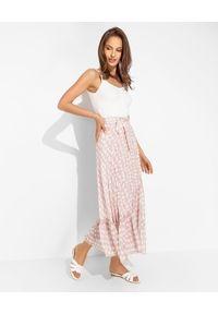 HEMISPHERE - Różowa spódnica z falbaną. Stan: podwyższony. Kolor: różowy, fioletowy, wielokolorowy. Materiał: wiskoza, materiał. Sezon: wiosna, lato