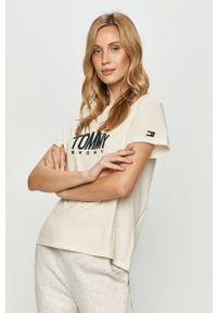 Kremowa bluzka Tommy Sport na co dzień, z aplikacjami, sportowa