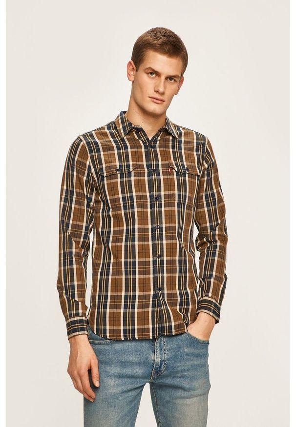 Brązowa koszula Levi's® długa, casualowa, z klasycznym kołnierzykiem, na spotkanie biznesowe