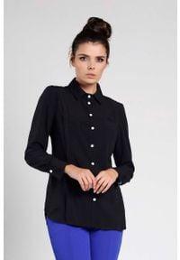 Nommo - Czarna Elegancka Koszula z Ozdobną Plisą. Kolor: czarny. Materiał: wiskoza, poliester. Styl: elegancki
