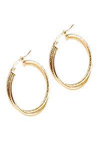 Braccatta - NELA Kolczyki złote koła średnie kręcone. Materiał: złote. Kolor: złoty. Wzór: gładki