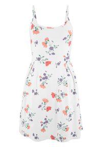 Sukienka z dżerseju z nadrukiem bonprix biel wełny w kwiaty. Kolor: biały. Materiał: jersey, wełna. Długość rękawa: na ramiączkach. Wzór: kwiaty, nadruk