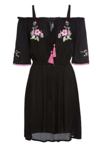 "Sukienka ""cold-shoulder"" z haftem bonprix czarny. Kolor: czarny. Wzór: haft. Długość: mini"
