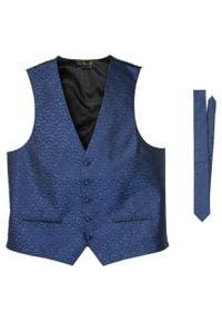 Kamizelka + krawat (2 części) bonprix niebieski paisley. Kolor: niebieski. Wzór: paisley. Styl: elegancki