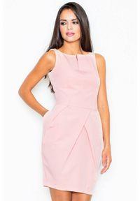 Figl - Elegancka sukienka tulipan z efektownymi zakładkami różowa. Kolor: różowy. Typ sukienki: tulipan. Styl: elegancki