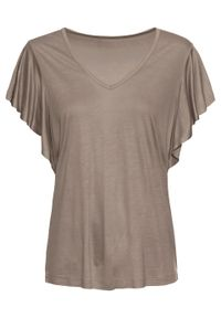 Shirt z rękawami z falbanami bonprix Shirt r.falb brunatny. Kolor: brązowy. Długość rękawa: krótki rękaw. Długość: krótkie