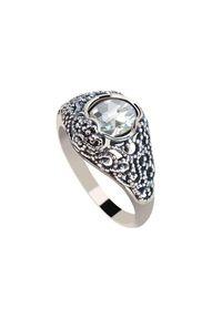 Srebrny pierścionek Polcarat Design z aplikacjami, srebrny, z cyrkonią