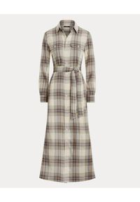 Ralph Lauren - RALPH LAUREN - Sukienka w kratę z paskiem. Typ kołnierza: polo. Kolor: beżowy. Materiał: materiał, bawełna. Długość rękawa: długi rękaw. Sezon: jesień. Typ sukienki: koszulowe #1