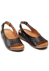 Łukbut - Sandały ŁUKBUT - 17510-100 Czarny. Kolor: czarny. Materiał: skóra