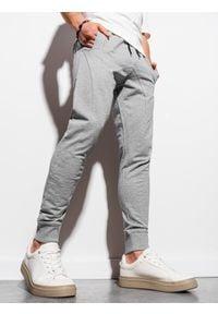 Ombre Clothing - Spodnie męskie dresowe joggery P952 - szare melanż - XXL. Kolor: szary. Materiał: dresówka. Wzór: melanż