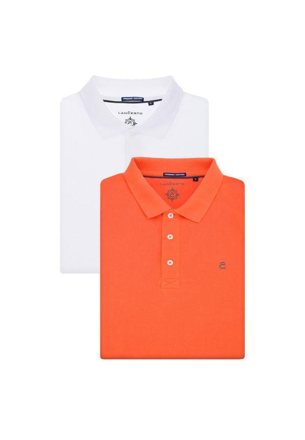 Lancerto - Zestaw 2 Koszulek Polo Patrick. Typ kołnierza: polo. Materiał: włókno, materiał, bawełna. Wzór: ze splotem. Styl: klasyczny
