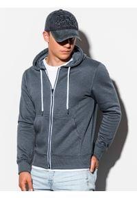 Ombre Clothing - Bluza męska rozpinana z kapturem B977 - szara - XXL. Typ kołnierza: kaptur. Kolor: szary. Materiał: poliester, bawełna. Styl: klasyczny #4