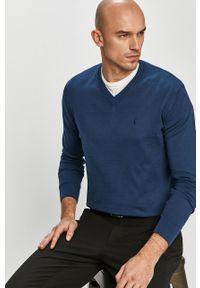 Niebieski sweter Trussardi Jeans klasyczny, na co dzień