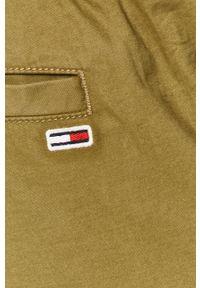 Oliwkowe spodnie Tommy Jeans na co dzień, gładkie, casualowe