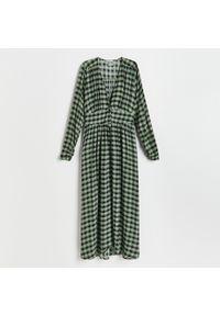 Reserved - Sukienka z wiskozy - Khaki. Kolor: brązowy. Materiał: wiskoza
