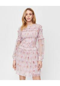NEEDLE & THREAD - Różowa sukienka mini Think Of Me. Okazja: na imprezę. Kolor: różowy, wielokolorowy, fioletowy. Materiał: tiul. Długość rękawa: długi rękaw. Wzór: kwiaty, aplikacja, nadruk. Styl: boho. Długość: mini