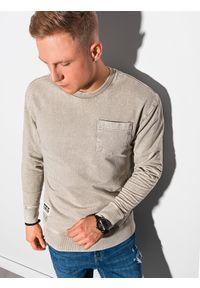 Ombre Clothing - Bluza męska bez kaptura bawełniana B1173 - beżowa - XXL. Typ kołnierza: bez kaptura. Kolor: beżowy. Materiał: bawełna. Wzór: aplikacja. Styl: klasyczny