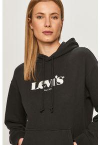 Czarna bluza Levi's® długa, z długim rękawem, z nadrukiem, biznesowa