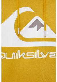 Quiksilver - Bluza. Kolor: żółty. Materiał: dzianina. Wzór: nadruk